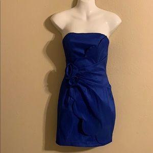 Cache bright blue strapless dress size 4